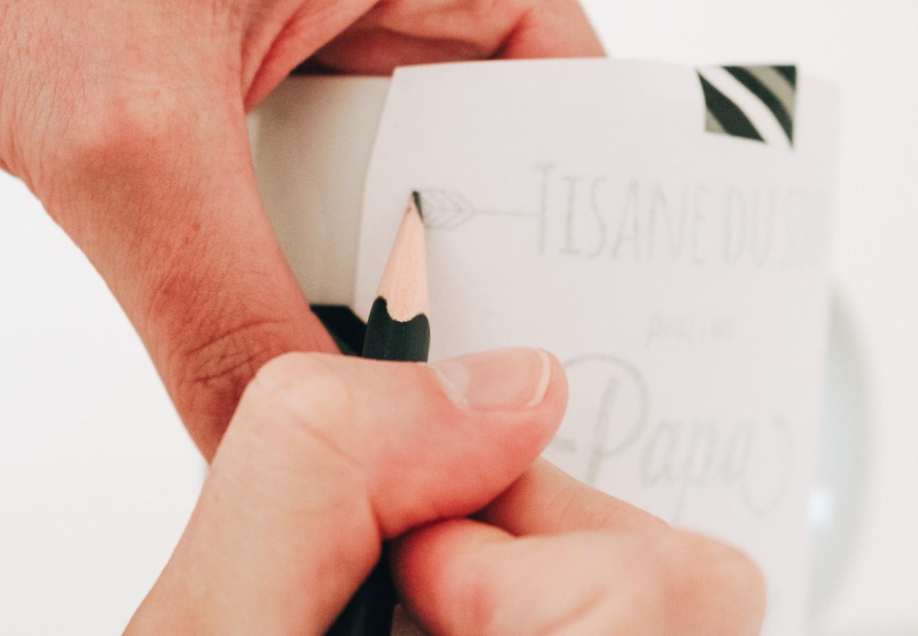 Décalquage du texte sur la tasse